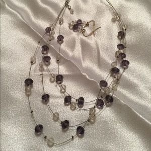 Crystal Stone Lavender Clear Necklace Earrings